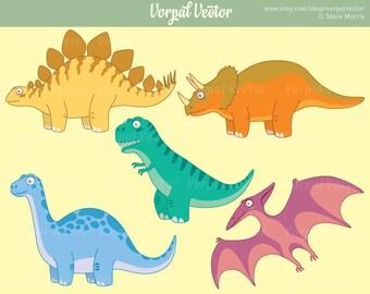 Cute Dinosaur Clipart, Prehistoric, Reptile, Tyrannosaurus, T-Rex, Stegosaurus, Brontosaurus, Pterodactyl, Triceritops, Clip Art