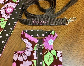 Personalized Leash and Harness or Collar Set for Your Dog, Cat, Rabbit, or Other Pets