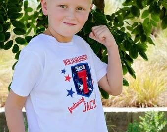 Ninja Warrior Birthday tee, American Ninja Warror Birthday tee, Ninja birthday tee, birthday shirt, personalized birthday shirt,
