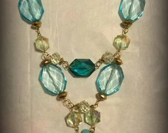 Luminous Crystal Statement Necklace- Available in Gold, Turquoise, & Blue