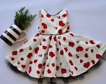 Twirl dress/ toddler dress/ flower dress/ special occasion dress/ black tulle