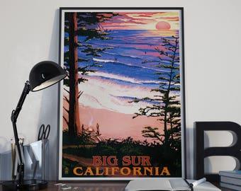 Big Sur Poster Surfing Art Print Big Sur California Vintage Poster Beach Art Beach Wall Art Beach Travel Art