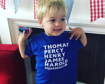 Thomas, Percy, Henry, James, Harold #SquadGoals Onesie or T-Shirt in Royal Blue - Thomas The Train - Thomas Shirt