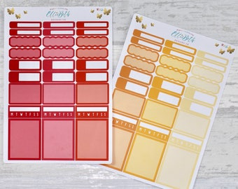 WARM SUNSHINE Add On Boxes/ Habit Tracker Selection Pack - Stickers for Planners!