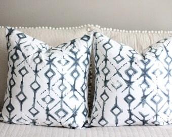 tie dye pillow cover // tribal pillow cover // retro decor // 70s style pillow cover // tie dye decor // blue white // premier prints tribal