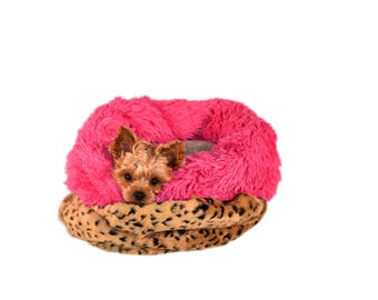BROWN LEOPARD CUDDLE:  Ultra Plush Soft Cuddle Pet Bed Sack, Dog Bed, Cat Bed, Pet Furniture for Dog or Cat, Small and Medium Pet Bed