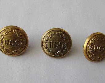 3 Utica Citizens Corp Buttons UCC Brass Button