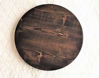 Gather with Thankful Hearts Wooden Lazy Susan Turntable | Round Lazy Susan | Large Lazy Susan Tray | Lazy Susan for Games |Round Wood Server