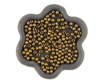 x 300 beads 2.4 mm round bronze metal (109 c)