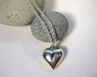 Sterling Silver Puffed Heart Necklace