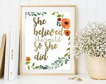 70% she believed she could so she did print, gold print, printable quotes, motivational quotes, printable , quote poster, poster download,