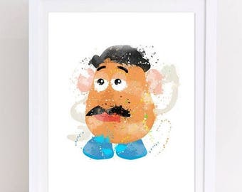 70%OFF toy story watercolor, watercolor toy story, mr potato head, toy story poster, mr potato poster, mr potato print, nursery toy story, k