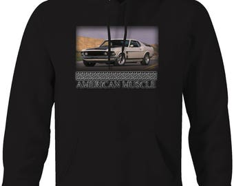 American Muscle - Ford Mustang Fastback Boss 302 Classic Hotrod Muscle  Hooded Sweatshirt- 5026