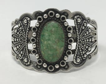 Ca' 1940's Native American Sterling Silver Fred Harvey Era Natural Turquoise Cuff Bracelet