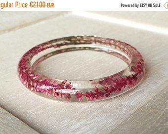 Sale Resin bangle bracelet Pink dried flowers bangles Pink bracelet Terrarium jewelry Flower resin bracelet eco Real plants Nature Jewellery
