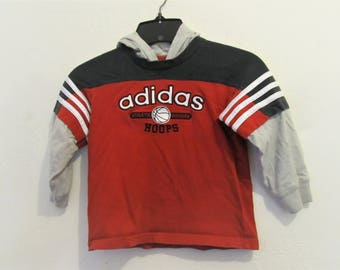A Boy's Vintage 90's Hooded Long Sleeve HIP H0P era Top By ADIDAS.3T