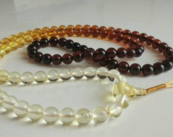 FULL OF LIFE: 108 beads baltic amber japa  (size Ø7  rainbow)