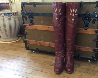 Tall Vintage Boots - Women's Tall Boots - Zodiac Boots - Knee High Boots - 1970s Boots - Tall Leather Boots - Women's Size 8 Boots