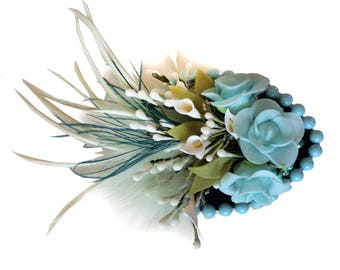Blue Floral Hair Fascinator