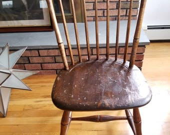 Antique Rod Back Bamboo 1800's Windsor Chair