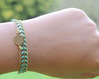 Hexagonal and turquoise Bracelet (gilded) with gold chain bracelet Bohemian chic trend of 2017 bracelet summer woman Bracelet