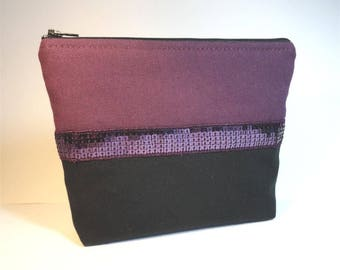 clutch in black and plum fabric and lace plum glitter