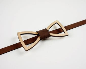 Wood and Leather Bow tie - Frame