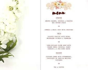 Beautiful Rustic Floral Wedding Table Menu Cards
