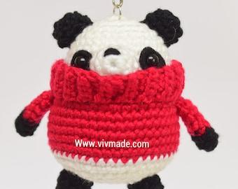 Crochet Chubby Panda ,Crochet bag charm , Amigurumi Panda.