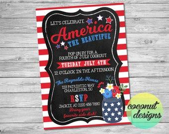 Fourth of July Invitation / Fourth of July BBQ Invitation / 4th of July Invite / Independence Day Invitation / Digital File