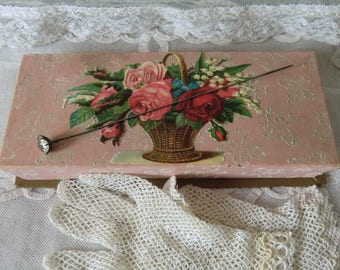 Vintage chocolates box with crochet gloves and antique Hatpin french boudoir shabby chic style JDL