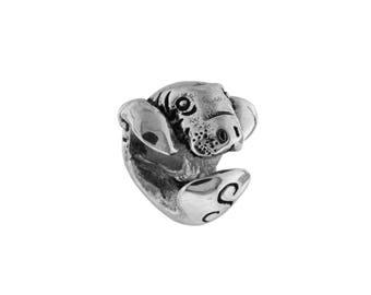 3D Baby Manatee Sanibel Island Large Hole Silver Bead - Compatible with ALL Popular Bracelet Brands - Made in the USA! - Item #13972