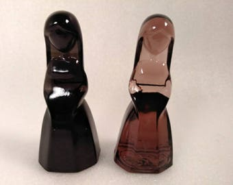 Extremely RARE Art Glass Nun Figurine Paperweights