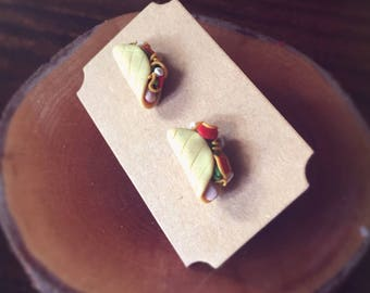 Handmade Little Bits Earrings Mexican Taco Stud Earrings Polymer Clay Surgical Steel