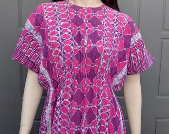 Vintage 70's Cotton Maxi caftan  dress BOHO  Sz Small/Medium