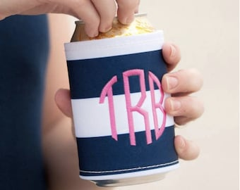 Preppy stripe drink wrap ~ monogrammed drink wrap ~ personalized drink cooler