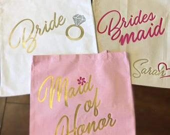 Bridal Party Tote Bag, Wedding Party Bag, Bridesmaid Gift, Bridal Party Gift, Destination Wedding, Custom Tote Bag