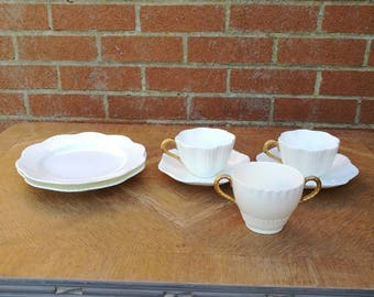 Vintage Coalport China England AD 1750 C1891 White With Gold Handles Cups Saucers Sugar Bowl Side Plates