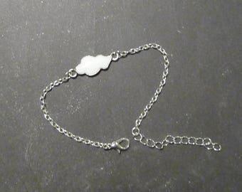 Silver jewelry with cream enamel cloud