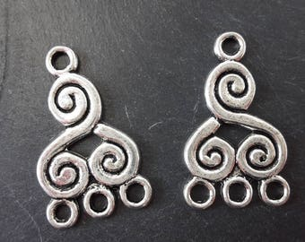Spiral chandelier earring, silver, 21 x 13 mm ethnic connectors