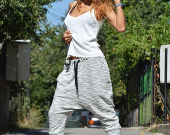 Autumn Loose Grey Harem Pants, Drop Crotch Maxi 7/8 Pants, Extravagant Hippie Casual Pants by SSDfashion