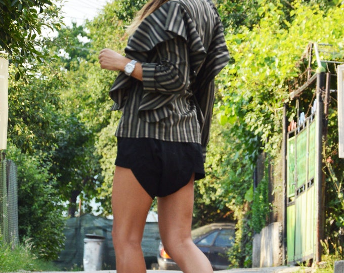 Extravagant Striped Shirt, Oversize Summer Shirt, Elegant Maxi Shirt, Loose Fitted Shirt, Office Shirt Design by SSDfashion