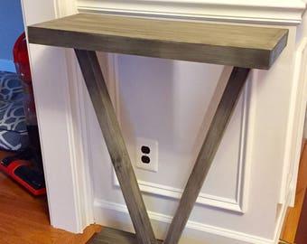 Custom Whitewashed V shape Entry Table