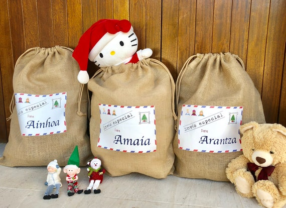Jute Stuff Bag for toys. Customized. From the three wise men or Santa Claus