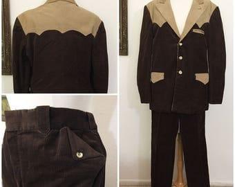 Original Vintage 1960's Men's Western Corduroy Two Tone Suit, Vintage Men's Western Suit, Vintage Western Corduroy Suit, Size: