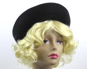 Vintage Neumann Endler Black Wool Felt Bowler Hat Upturned Brim, 1960s Formal Winter Church Hat