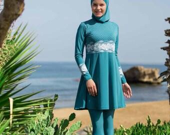 2017 Adabkini DERIN Muslim Swimsuit Islamic Full Cover Modest Swimwear Beachwear burkini