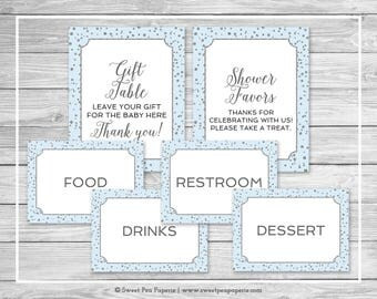 Blue and Silver Baby Shower Table Signs - Printable Baby Shower Table Signs - Blue and Silver Baby Shower - Table Signs - EDITABLE - SP151