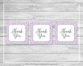 Purple and Silver Baby Shower Favor Thank You Tags - Printable Baby Shower Thank You Tags - Purple Silver Baby Shower - Favor Tags - SP153