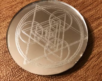 Sacred Geometry Mirror Magnet - 2 inches  - Triangles and Circles
